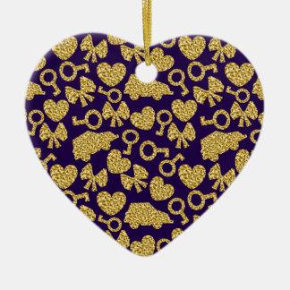 gouden naadloos patroon 3 .1 keramisch hart ornament
