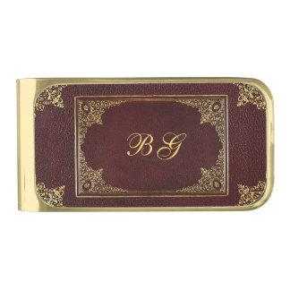 Gouden Ornament op Bruin aanvankelijk Leer Vergulde Geldclip