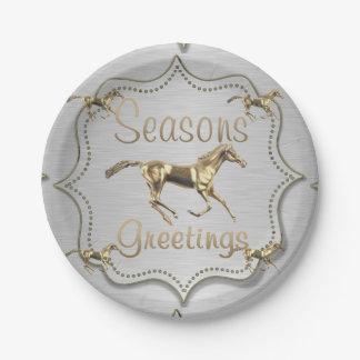 Gouden Paarden op de Zilveren Groeten van Papieren Bordje