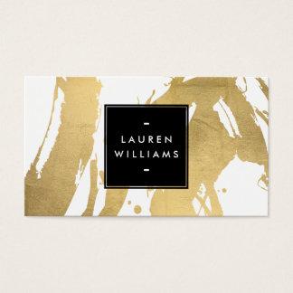 Gouden Penseelstreken abstracte Faux op Wit