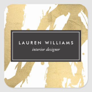 Gouden Penseelstreken abstracte Faux op Wit II Vierkante Sticker