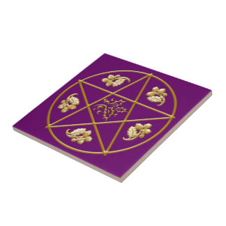 Gouden Pentagram, met Eik & Hulst - Tegel/Treeft Keramisch Tegeltje