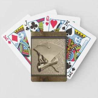 Gouden Pet en Diploma op Goud Poker Kaarten