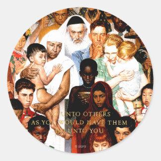Gouden Regel (doe unto anderen) door Norman Ronde Sticker