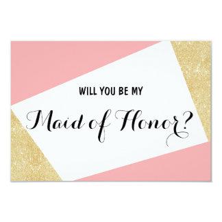 Gouden roze modern zal u mijn Eerste bruidsmeisje 8,9x12,7 Uitnodiging Kaart