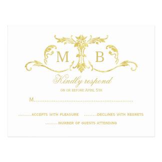Gouden RSVP het huwelijksreeks van de briefkaarten