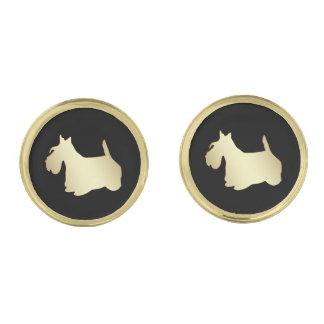 Gouden Schots Terrier op Zwarte Vergulde Manchetknopen
