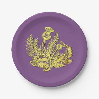 Gouden Schotse Distel Uw Kleur Papieren Bordjes