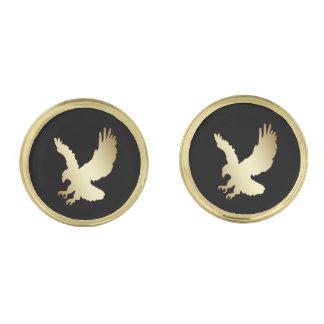 Gouden Silhouet Eagle op Zwarte Vergulde Manchetknopen