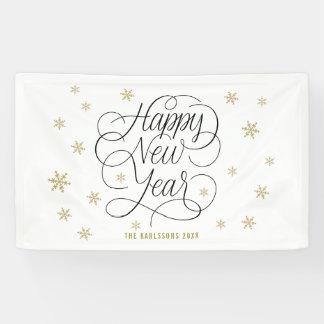 Gouden Sneeuwvlokken | Gelukkig Nieuwjaar Spandoek