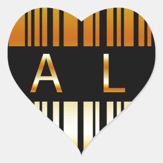 Gouden streepjescode hart sticker