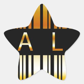 Gouden streepjescode stervormige sticker