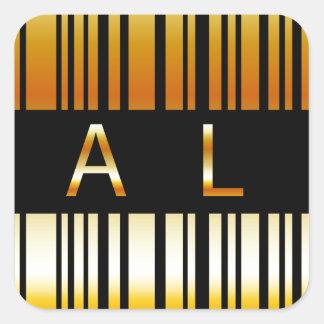 Gouden streepjescode vierkante stickers