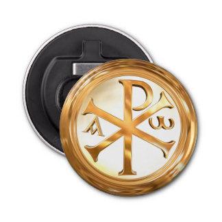 Gouden Symbool chi-Rho Button Flesopener