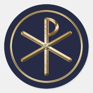 Gouden symbool chi-Rho op donkerblauw Ronde Sticker