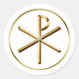 Gouden symbool chi-Rho Ronde Sticker