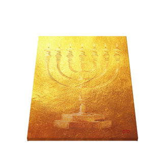 Gouden Tempel Menorah Joodse Judaica Canvas Afdruk