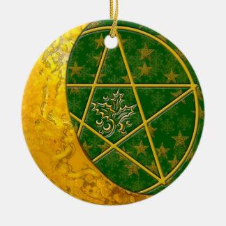 Gouden Toenemende Maan & Pentacle #5 Rond Keramisch Ornament