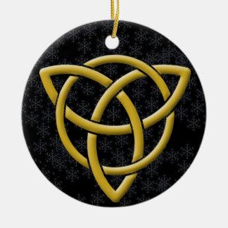 Gouden tri-Quatra op Sneeuwvlokken & Zwarte Rond Keramisch Ornament