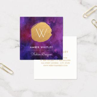 Gouden van de Folie Faux Cirkel | van de waterverf Vierkante Visitekaartjes