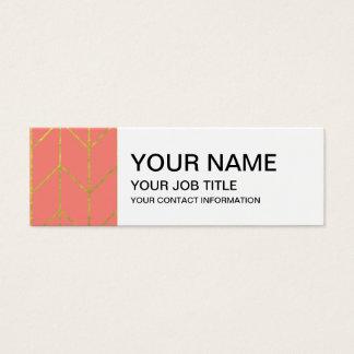 Gouden van het Koraal van de Chevron Roze Moderne Mini Visitekaartjes
