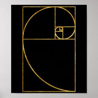 Gouden Verhouding Heilige Spiraal Fibonacci Poster