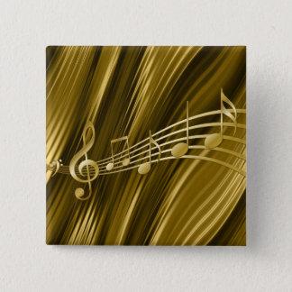 Gouden vioolsleutel vierkante button 5,1 cm