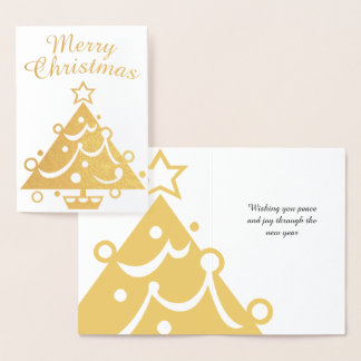 Gouden Vrolijke Kerstboom Folie Kaarten