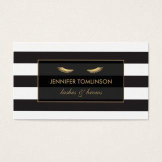 Gouden Wimpers met Zwart-witte Strepen Visitekaartjes