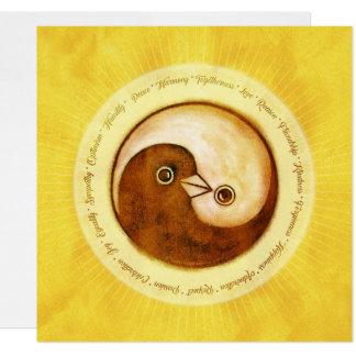 Gouden YinYang de duivenVrede & Harmonie van de Kaart