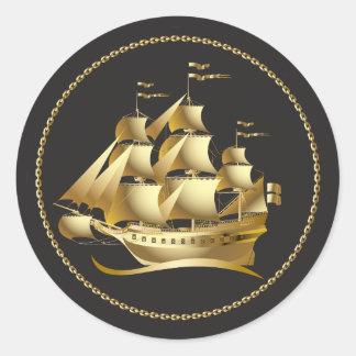 Gouden Zeilboot Zeevaart Ronde Sticker