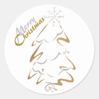 Gouden & Zilveren Kerstboom Ronde Sticker