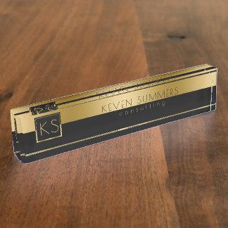 Gouden & Zwart Modern Ontwerp met monogram Naambord