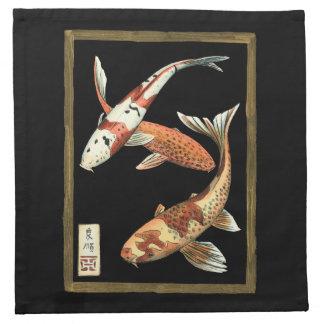 Goudvis twee Japanse Koi op Zwarte Achtergrond Katoenen Servet