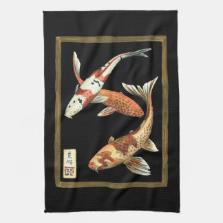 Goudvis twee Japanse Koi op Zwarte Achtergrond Theedoek