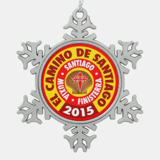 Gr Camino DE Santiago 2015 Tin Sneeuwvlok Ornament