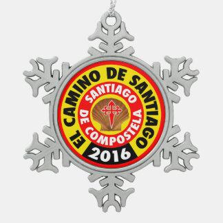 Gr Camino DE Santiago 2016 Tin Sneeuwvlok Ornament