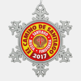 Gr Camino DE Santiago 2017 Tin Sneeuwvlok Ornament