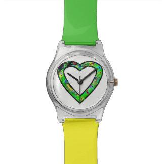Graffiti Heart (green) Horloges