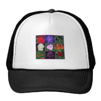 grafiek van 8 bloem de bloemenfoto's op mesh petten