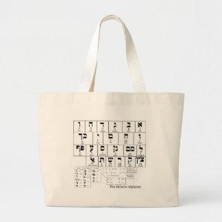 Grafiek van het Alfabet in de Hebreeuwse Taal Grote Draagtas