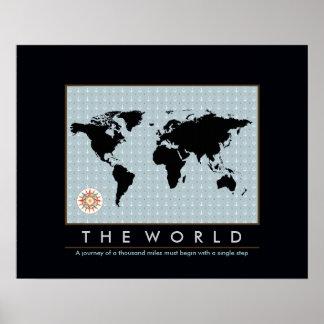 grafische kaart van de wereld poster