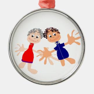 Grafische Kunst - Twee Vrienden Zilverkleurig Rond Ornament