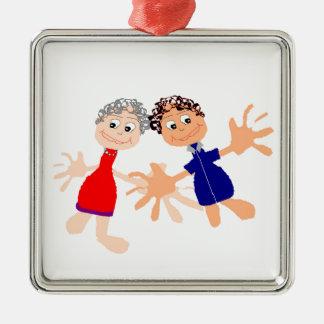 Grafische Kunst - Twee Vrienden Zilverkleurig Vierkant Ornament
