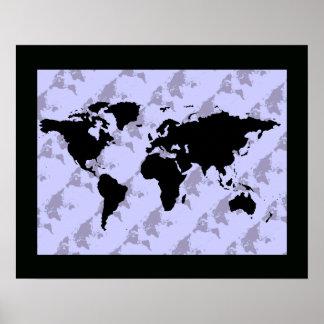 grafische zwarte wereldkaart poster