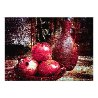 Granaatappels en een Waterkruik Foto Afdruk