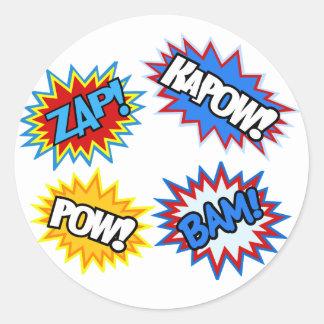 Grappig Boek Pow! Uitbarstingen Ronde Sticker