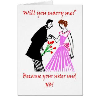 Grappig de humorhuwelijk van het aanzoek wenskaart