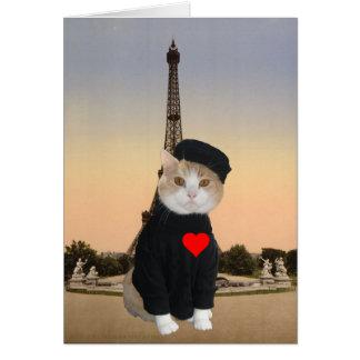 Grappig Frans Kat/Kat Valentijn Kaart