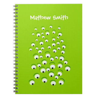 Grappig Gek en Nieuwsgierig Groen Eyed Monster Ringband Notitieboek